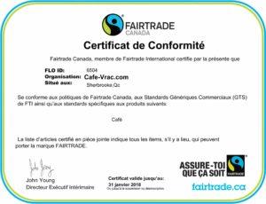 Certificat Fairtrade Canada